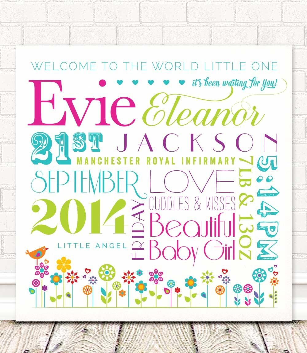 Personalised Baby Girl Wall Art | Welcome To The World! With Personalized Baby Wall Art (Image 2 of 20)