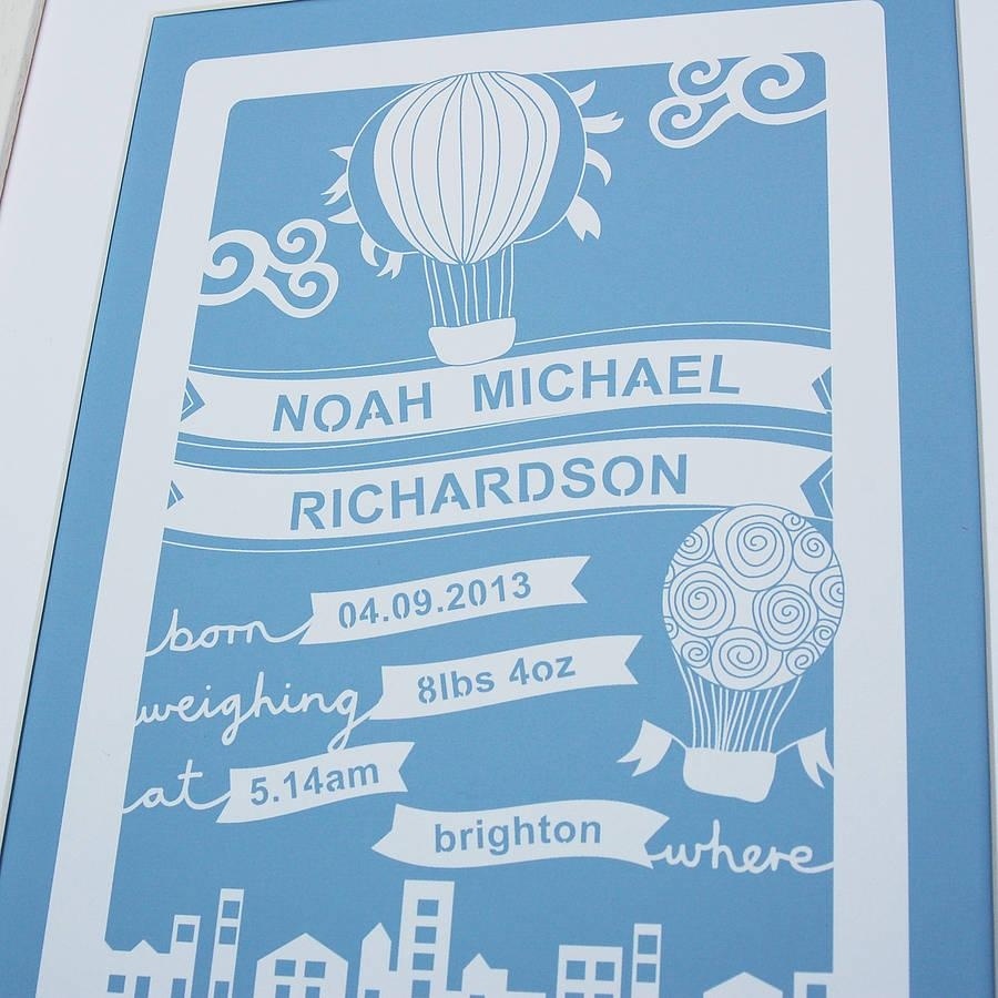 Personalised Baby Wall Art Printant Design Gifts For Personalized Nursery Wall Art (View 4 of 20)