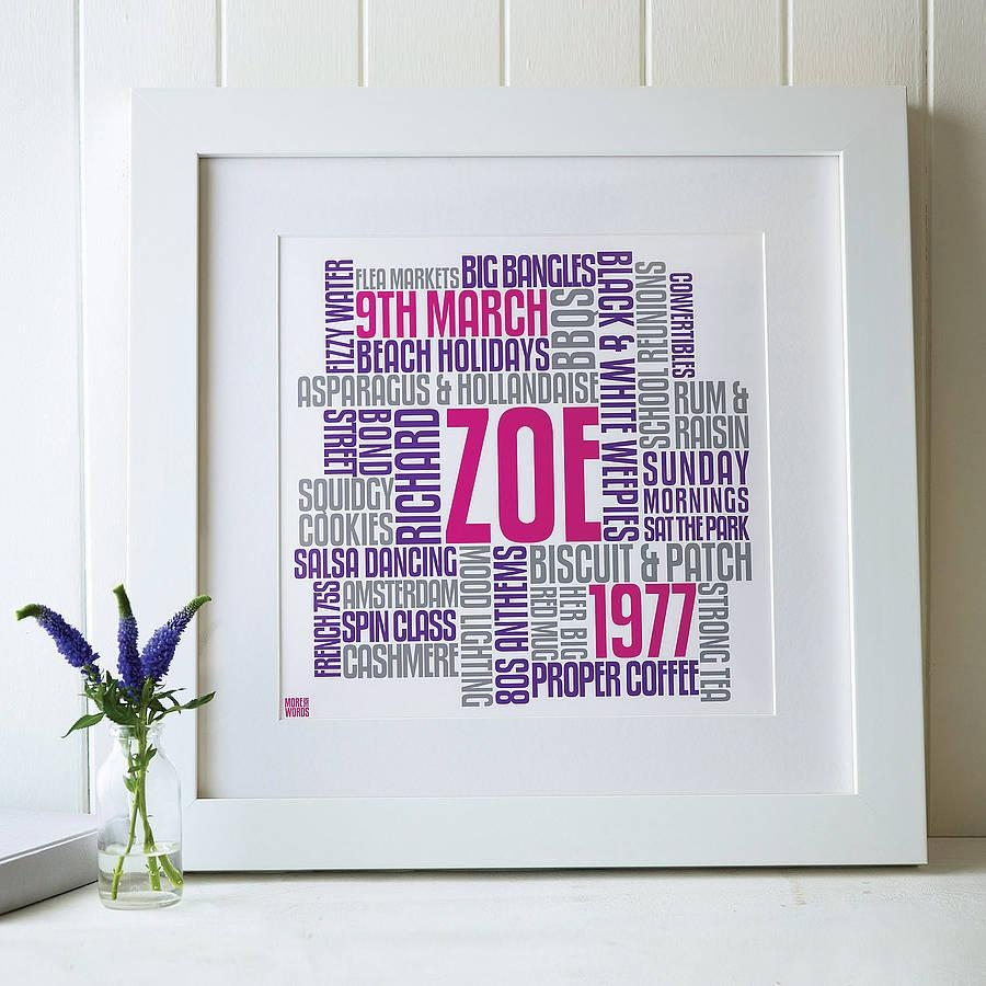 Personalised Birthday Typographic Words Artworkmore Than Words With Regard To Typography Canvas Wall Art (View 3 of 20)