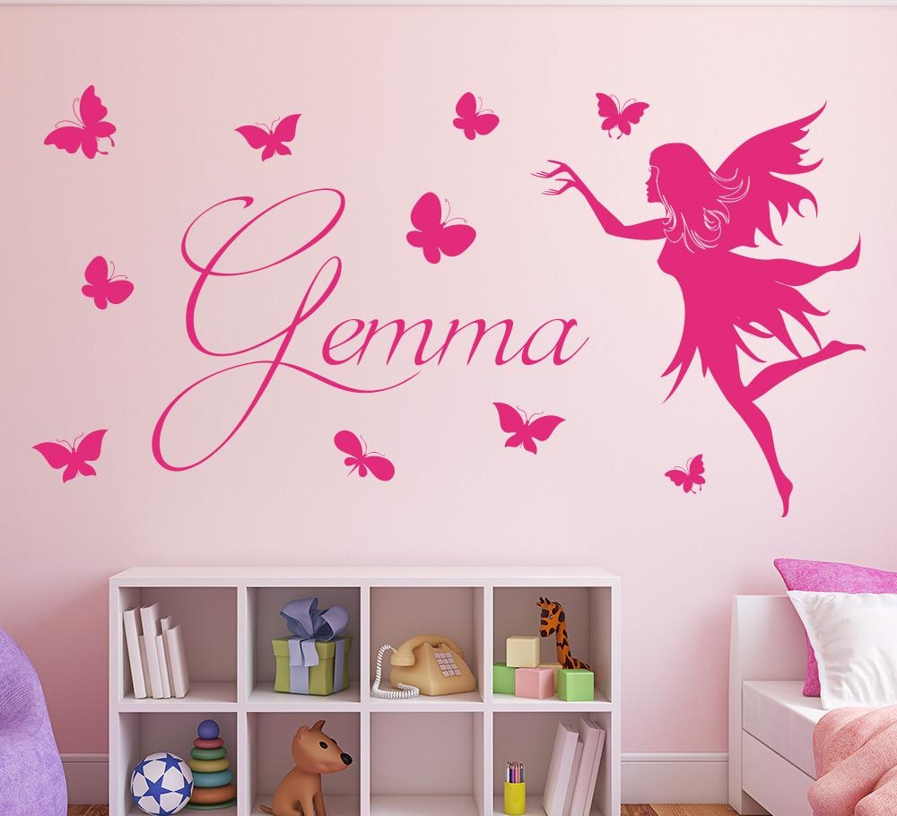 Personalised Butterfly Fairy Wall Sticker Girls Bedroom Decal With Regard To Butterflies Wall Art Stickers (Image 16 of 20)