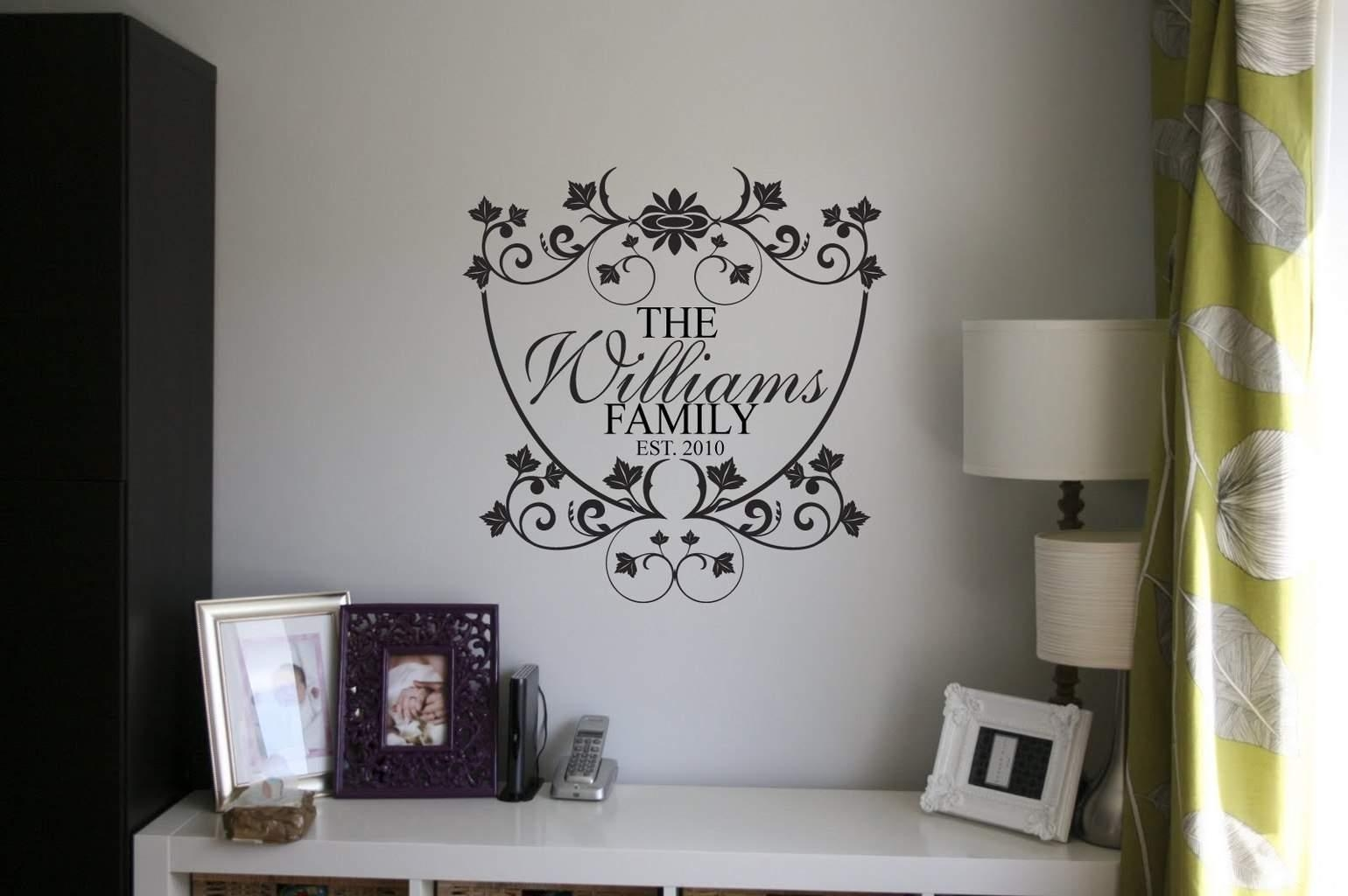 Personalised Family Name Wall Art Decal With Regard To Last Name Wall Art (Image 13 of 20)
