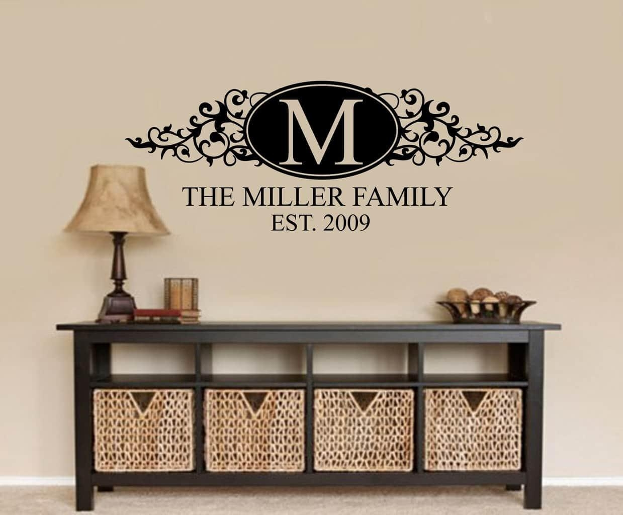 Personalised Family Name Wall Decal | Wall Art Decal Sticker In Last Name Wall Art (View 5 of 20)
