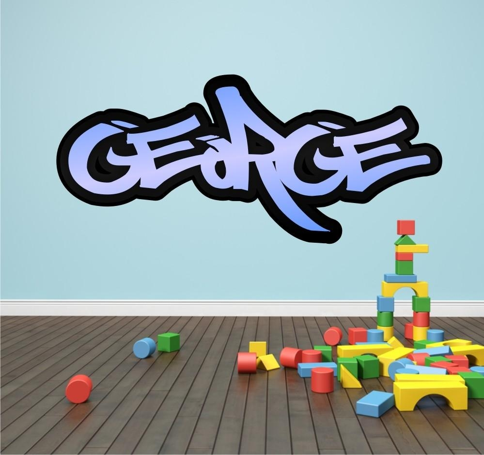 Personalised Graffiti Name Wall Sticker Kids Transfer Huge Bedroom Inside Graffiti Wall Art Stickers (Image 13 of 20)