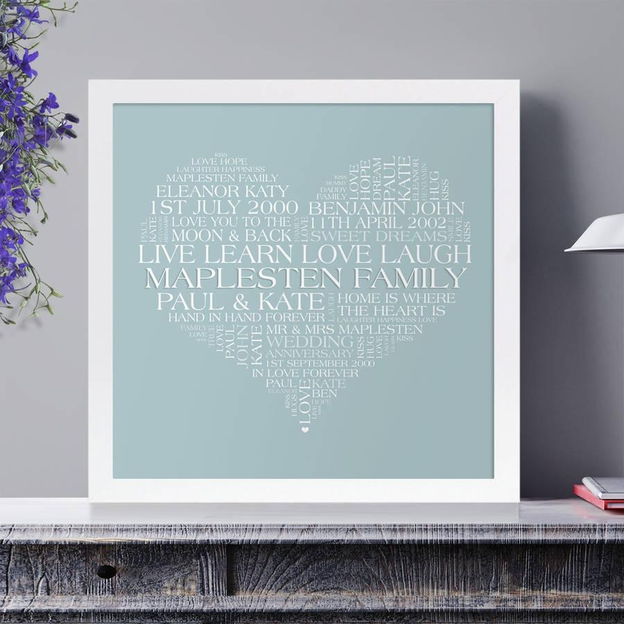 Personalised Heart Family Word Art Printcherry Pete In Duck Egg Blue Wall Art (Image 12 of 20)