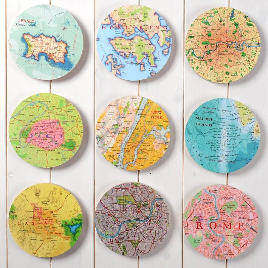 Personalised Map Location 3D Circle Wall Artbombus Throughout 3D Circle Wall Art (Image 16 of 20)