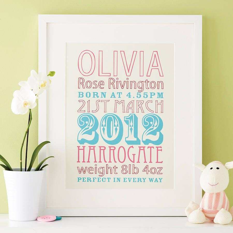 Personalised New Baby Birth Date Printmodo Creative Inside Personalized Baby Wall Art (Image 5 of 20)