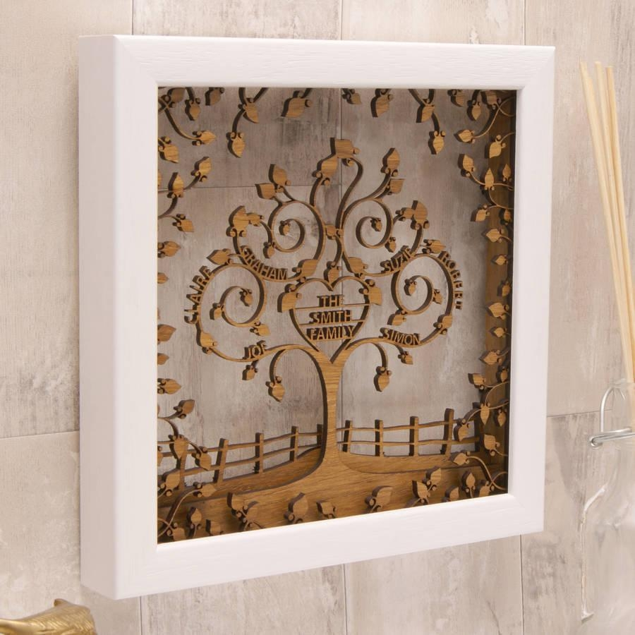 Personalised Wooden 3D Heart Family Tree Wall Arturban Twist Throughout 3D Tree Wall Art (Image 13 of 20)