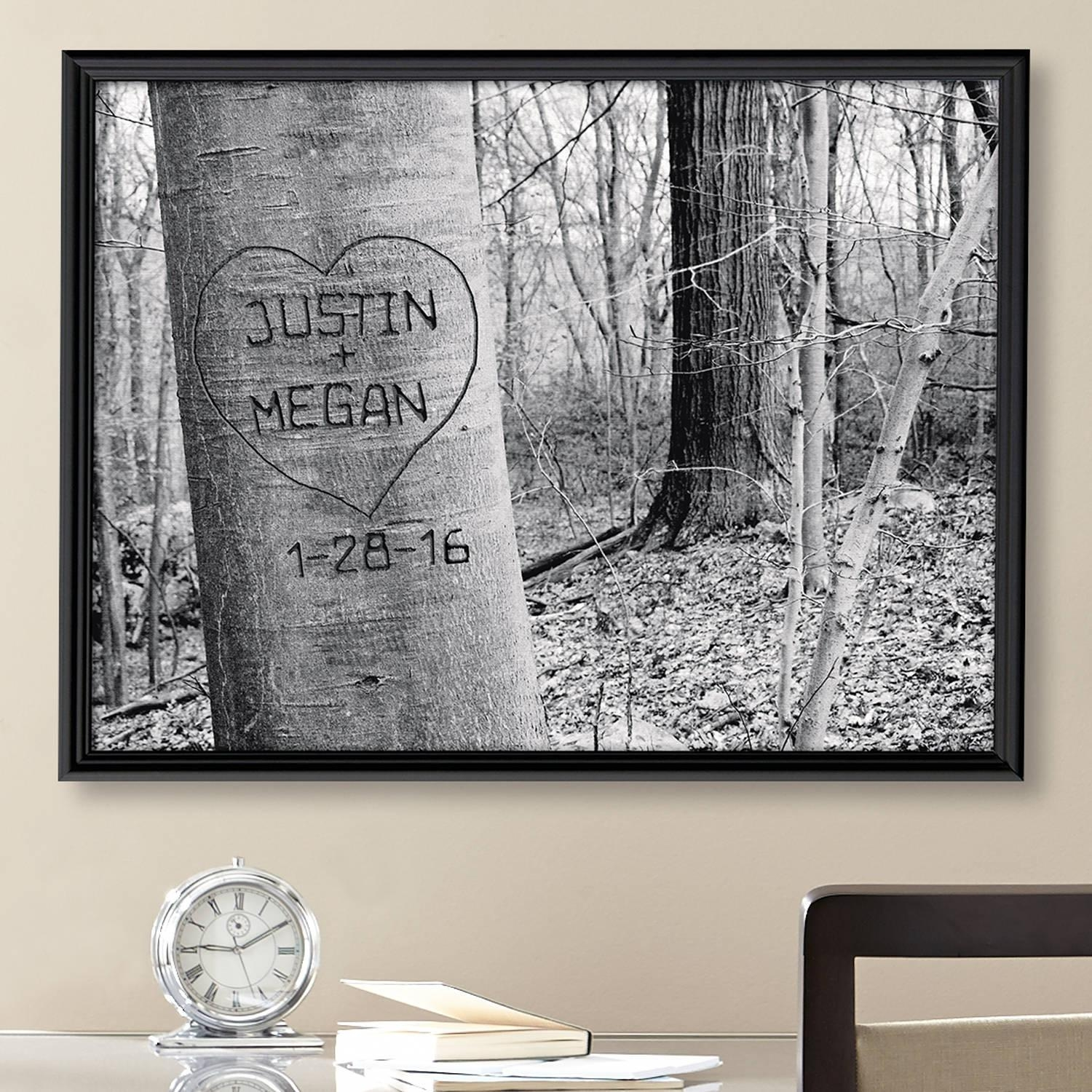 Personalized Carved Heart Art Canvas, Multiple Sizes – Walmart Intended For Walmart Framed Art (View 4 of 20)
