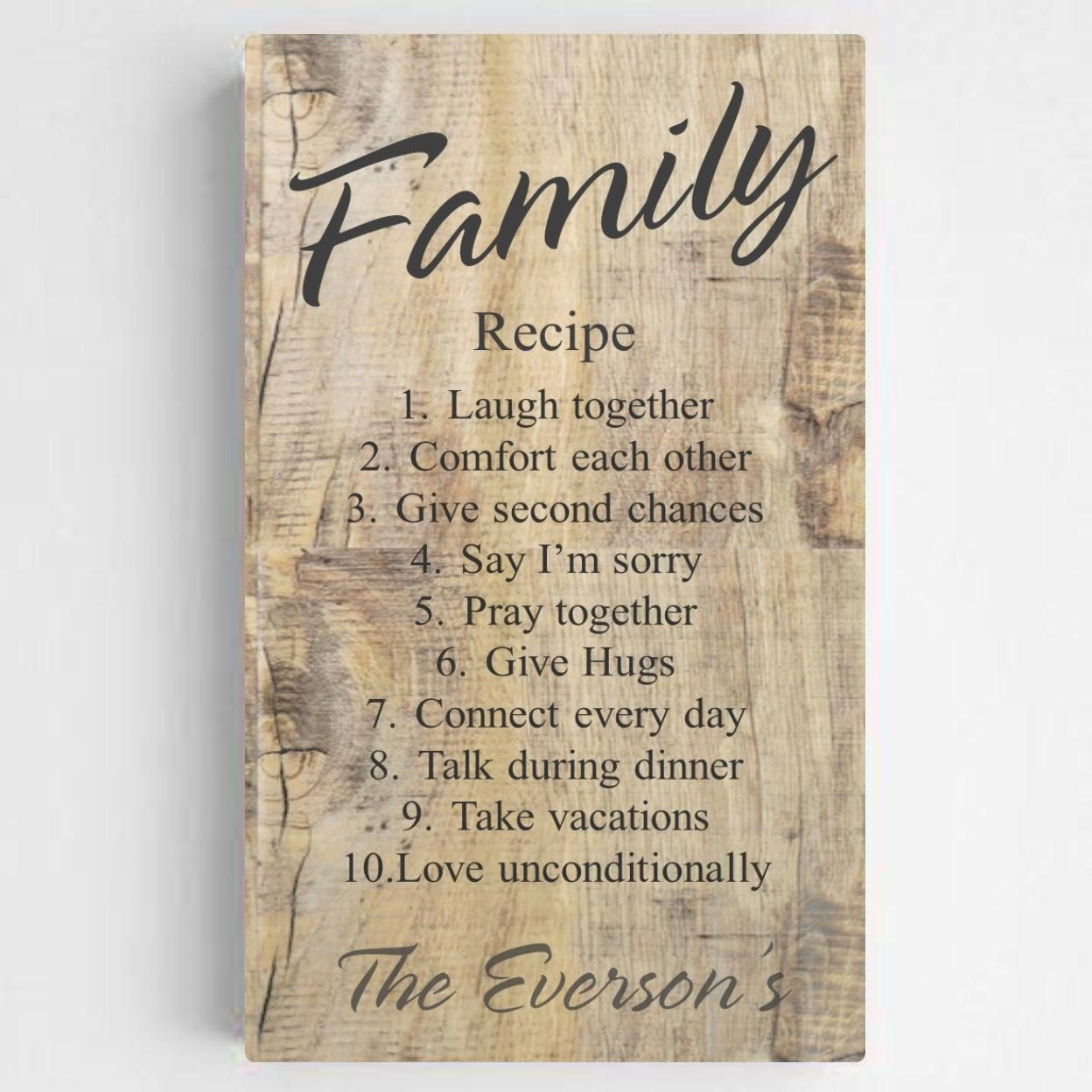 Personalized Family Recipe Canvas Sign – Rustic Wood Intended For Personalized Family Wall Art (View 18 of 20)