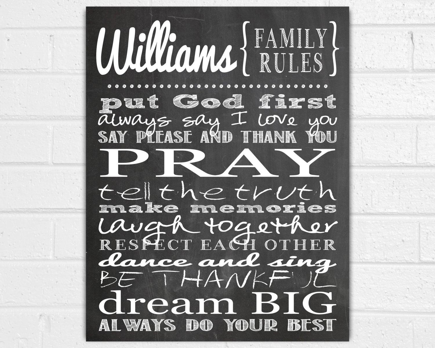 Personalized Family Rules Wall Art Family Wall Sayings pertaining to Personalized Family Wall Art