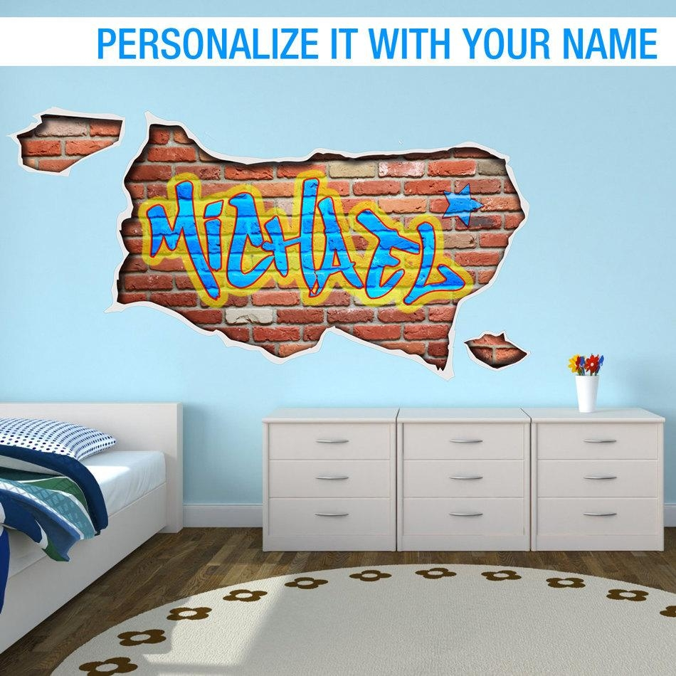 Personalized Graffiti Custom Name Wall Art Bedroom Decal Intended For Personalized Graffiti Wall Art (Image 14 of 20)