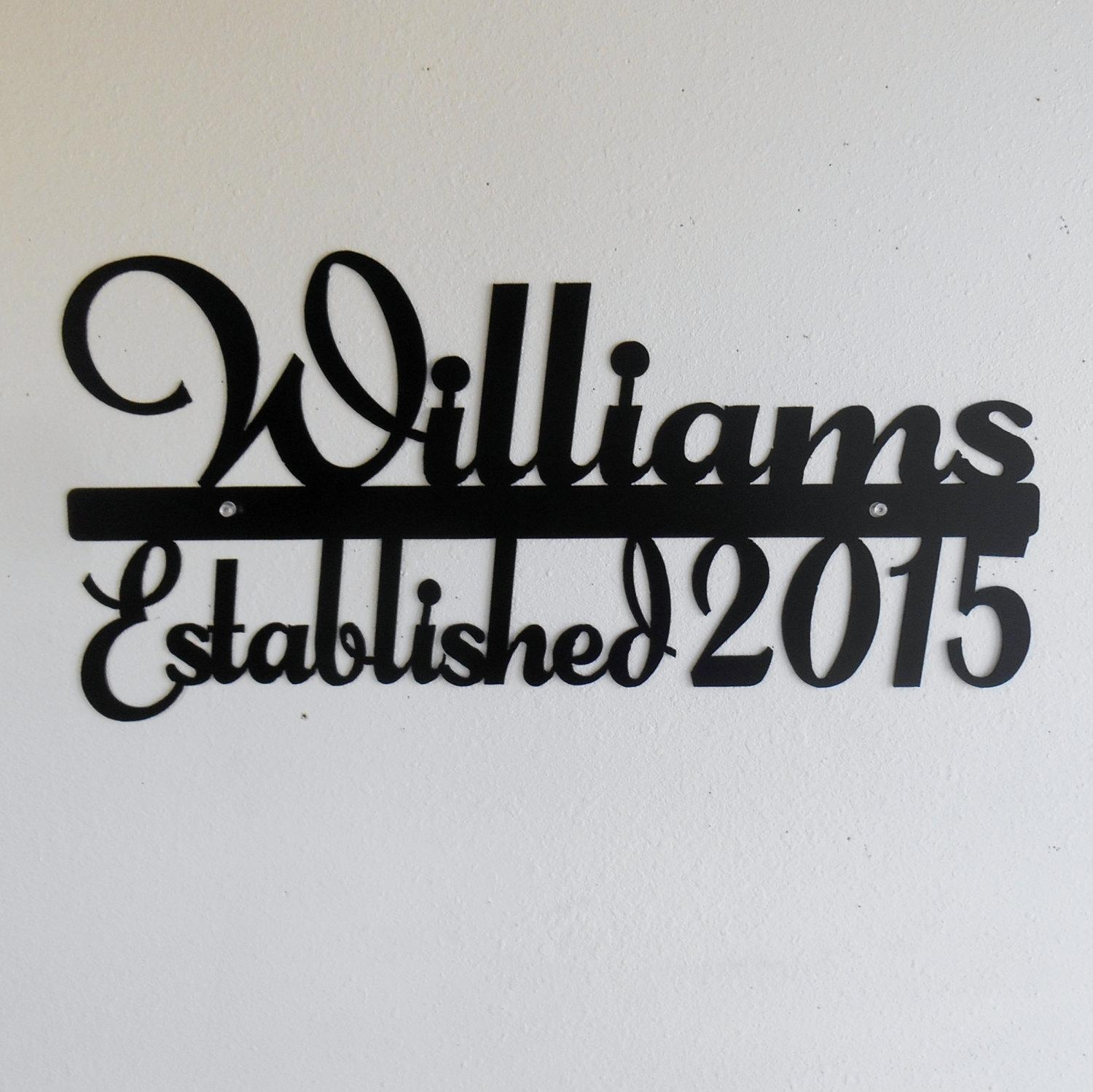 Personalized Name Sign / Metal Sign / Typography / Last Name Regarding Last Name Wall Art (View 10 of 20)
