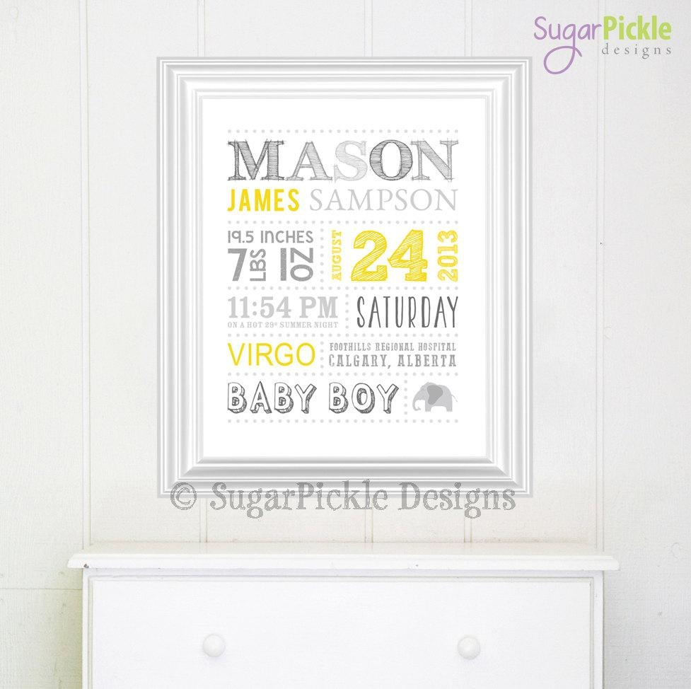 Personalized Nursery Art // Wall Art // Birth Announcement // Regarding Personalized Nursery Wall Art (Image 8 of 20)