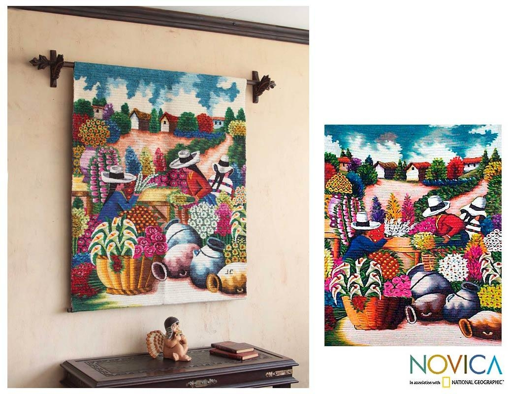 Peruvian Floral Wool Tapestry Wall Hanging – The Florists | Novica Inside Peruvian Wall Art (Image 9 of 20)