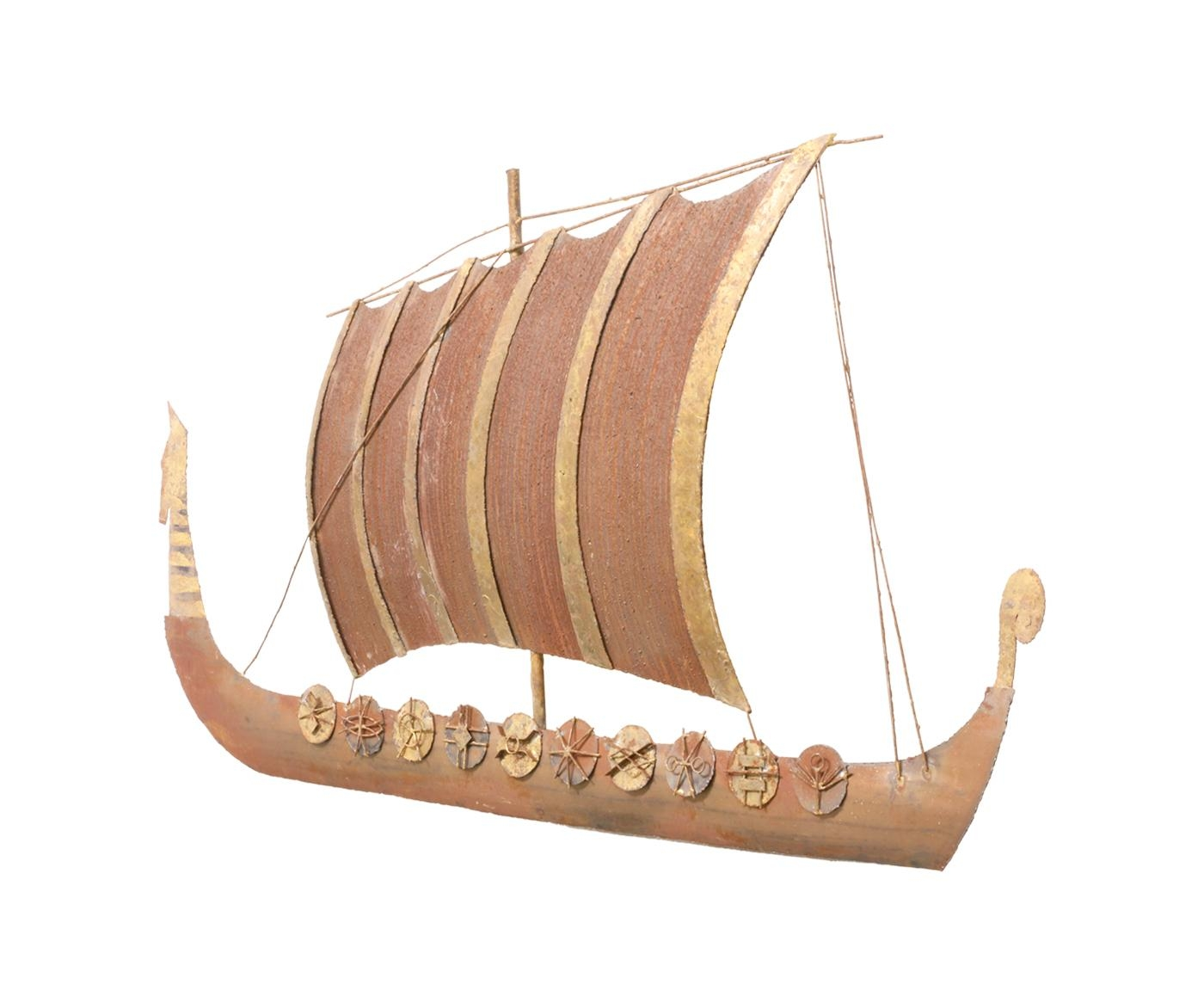 Peter Pepper Products Viking Sail Boat Wall Art Sculpture | Danish In Boat Wall Art (Image 18 of 20)