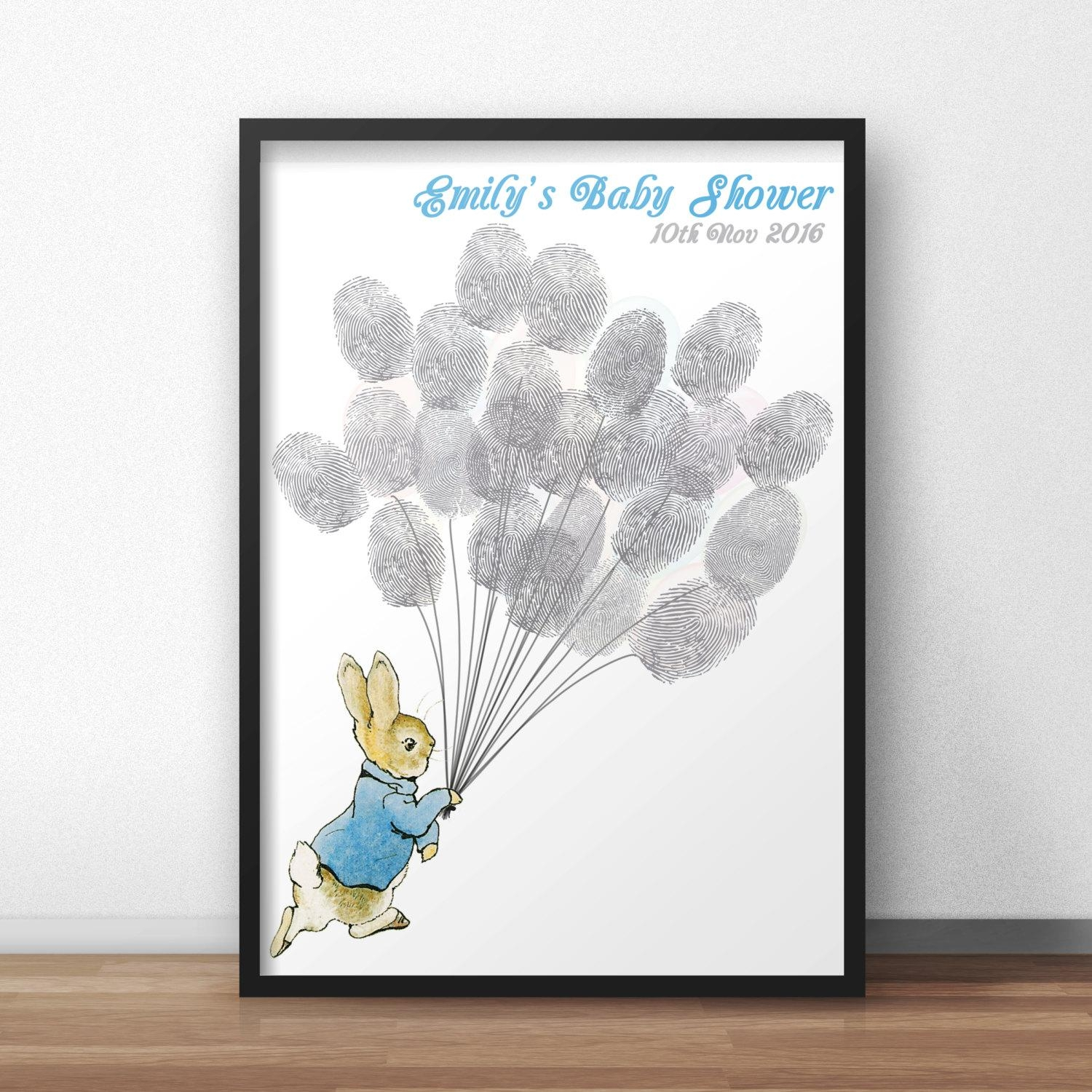 Peter Rabbit Baby Shower Guest Book Poster Peter Holding With Regard To Peter Rabbit Wall Art (View 14 of 20)