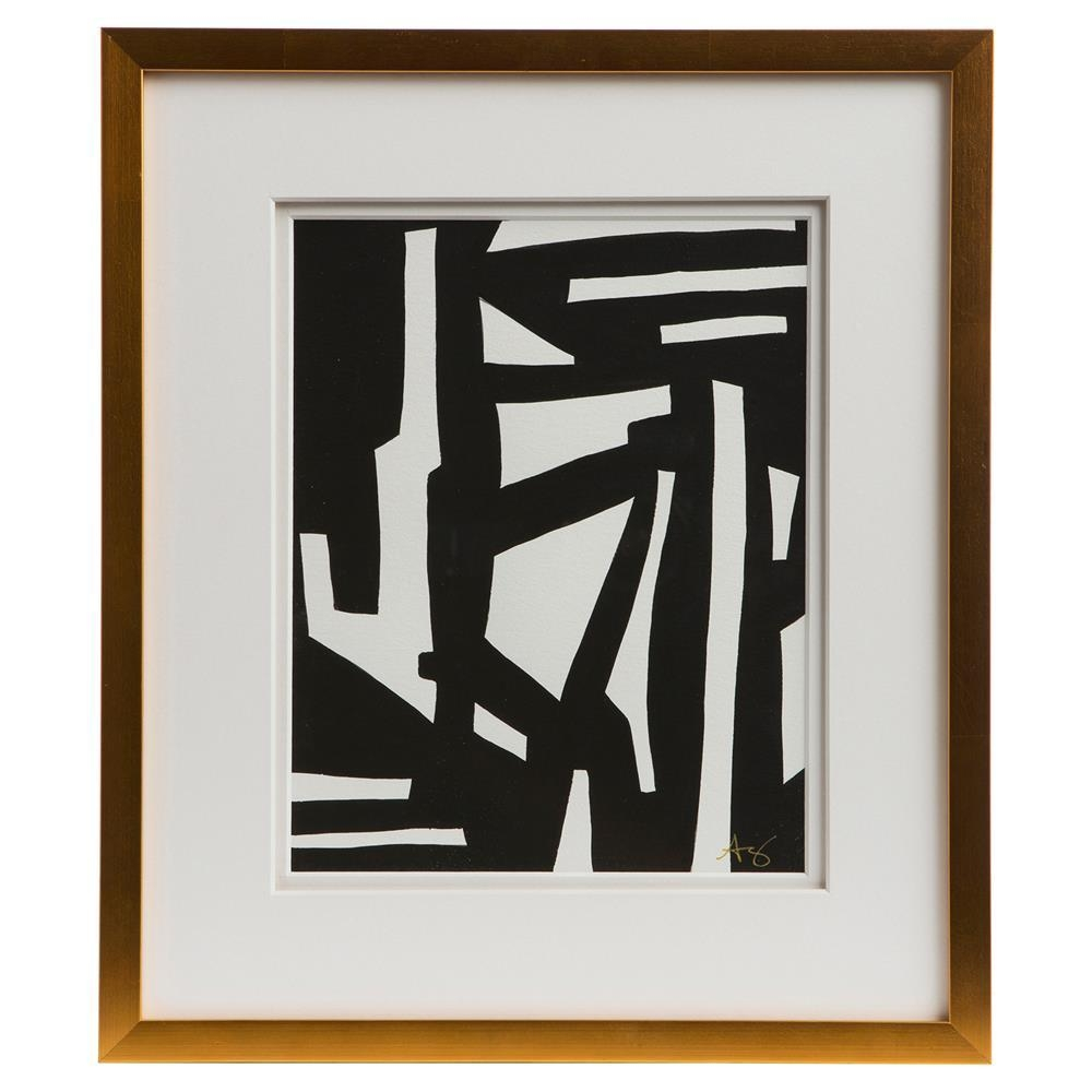 Peyton Modern Classic Black White Gold Frame Wall Art – I | Kathy Pertaining To Black And White Framed Wall Art (Image 17 of 20)
