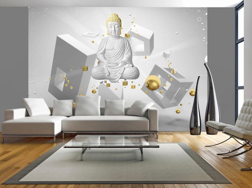 Photo Wallpaper Wall Murals Non Woven 3D Modern Art Buddha Within Optical Illusion Wall Art (View 11 of 20)