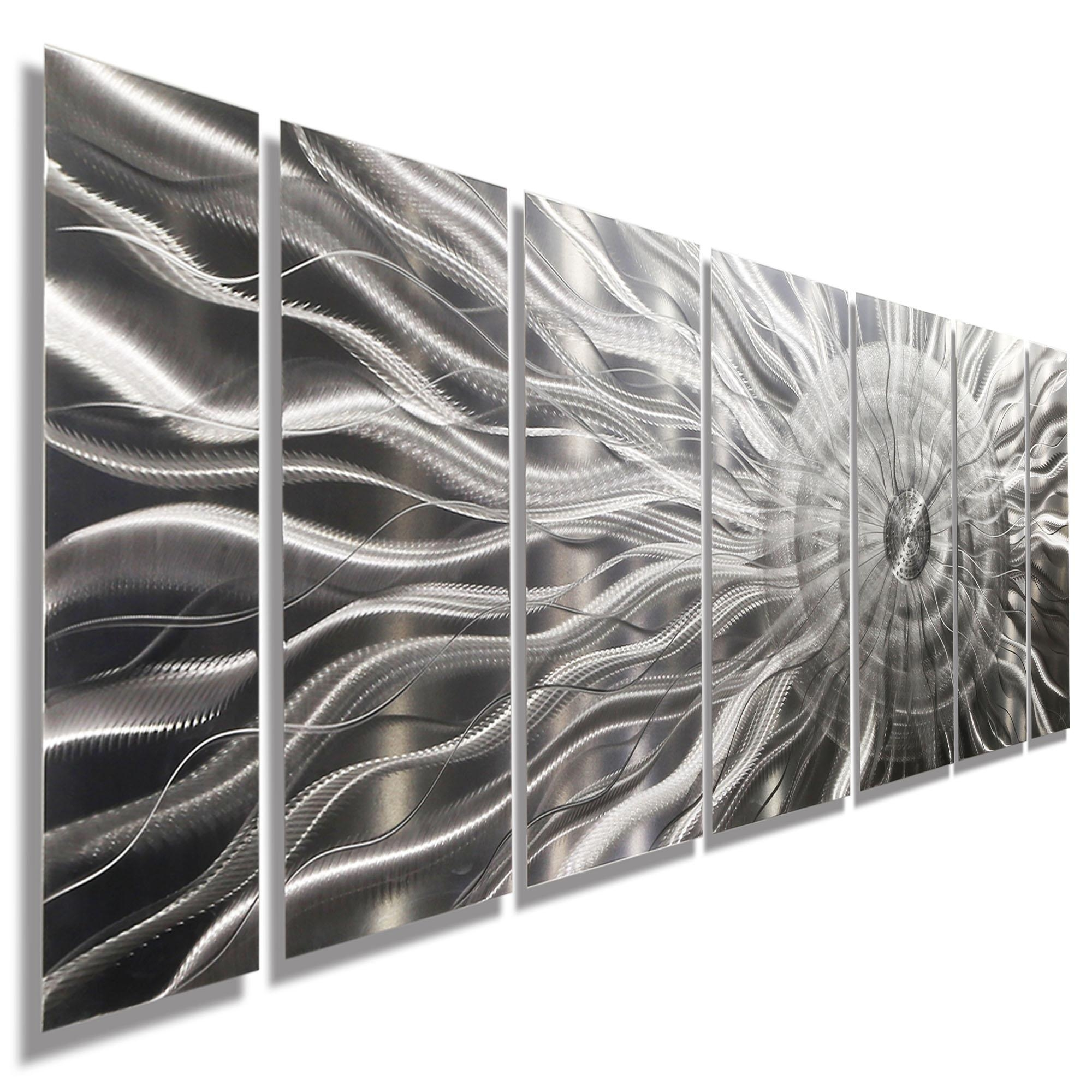 Photon Xl – Extra Large Modern Abstract Silver Corporate Metal With Regard To Black Silver Wall Art (Image 15 of 20)