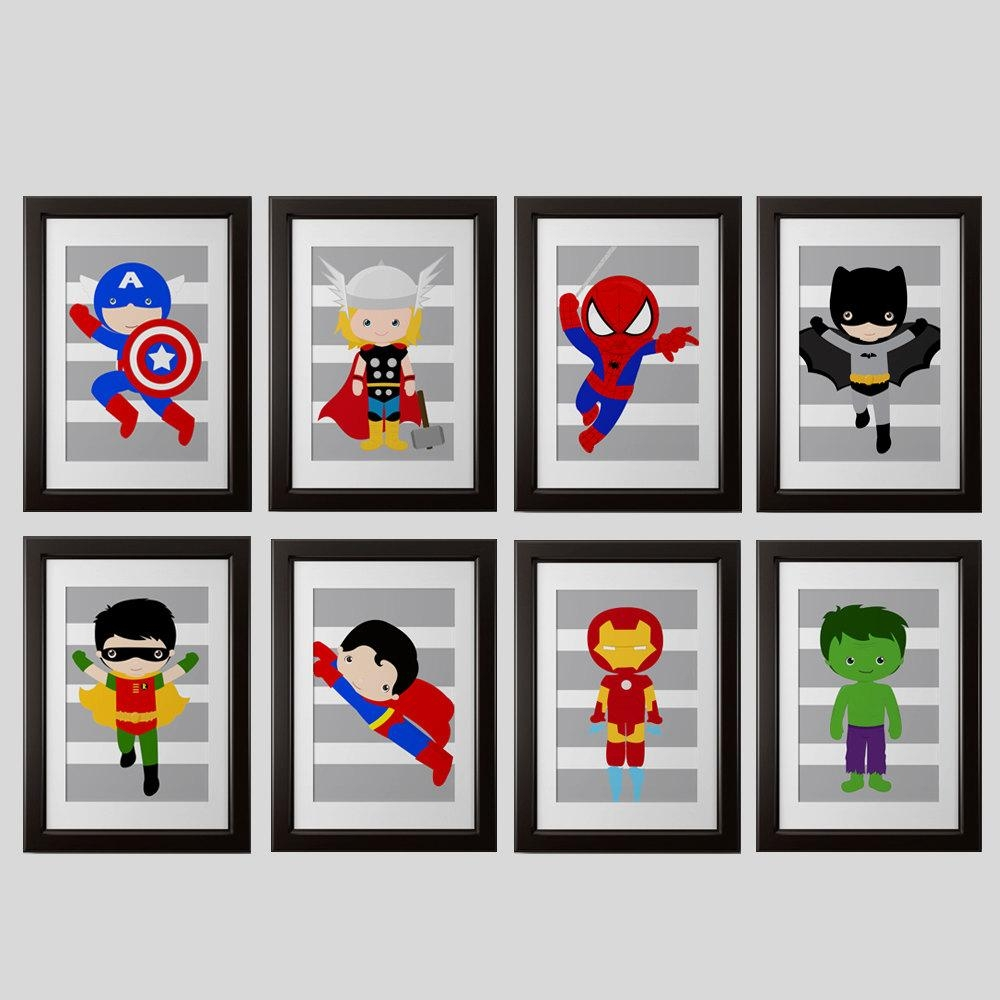 Pick 6 Superhero Wall Prints Super Hero Wall Art Boys Room Throughout Etsy Childrens Wall Art (Image 14 of 20)