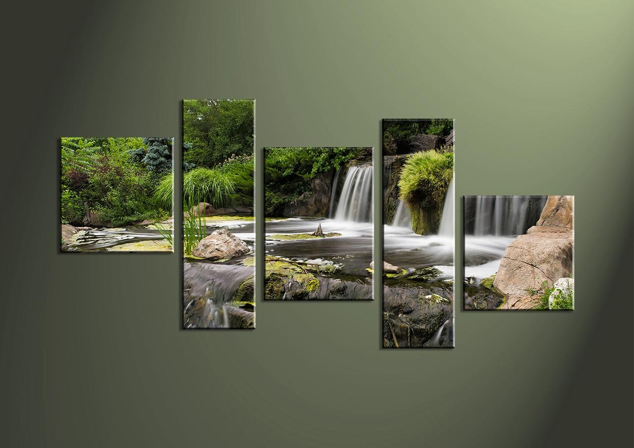 Piece Waterfall Green Images Of Photo Albums Multi Panel Wall Art Intended For Multiple Piece Wall Art (Image 8 of 20)