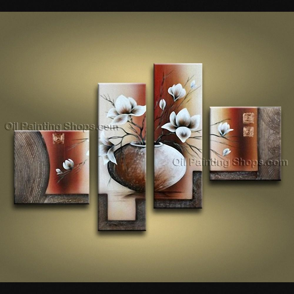 Pieces Contemporary Wall Art Floral Painting Tulip Contemporary Decor Regarding Contemporary Wall Art (View 5 of 20)