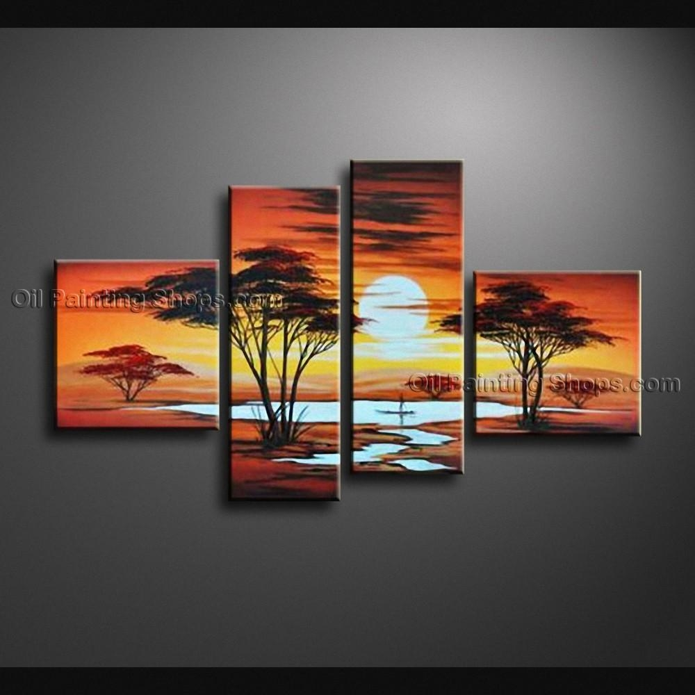 Pieces Contemporary Wall Art Landscape Painting Decoration Ideas In 4 Piece Wall Art (Image 15 of 19)