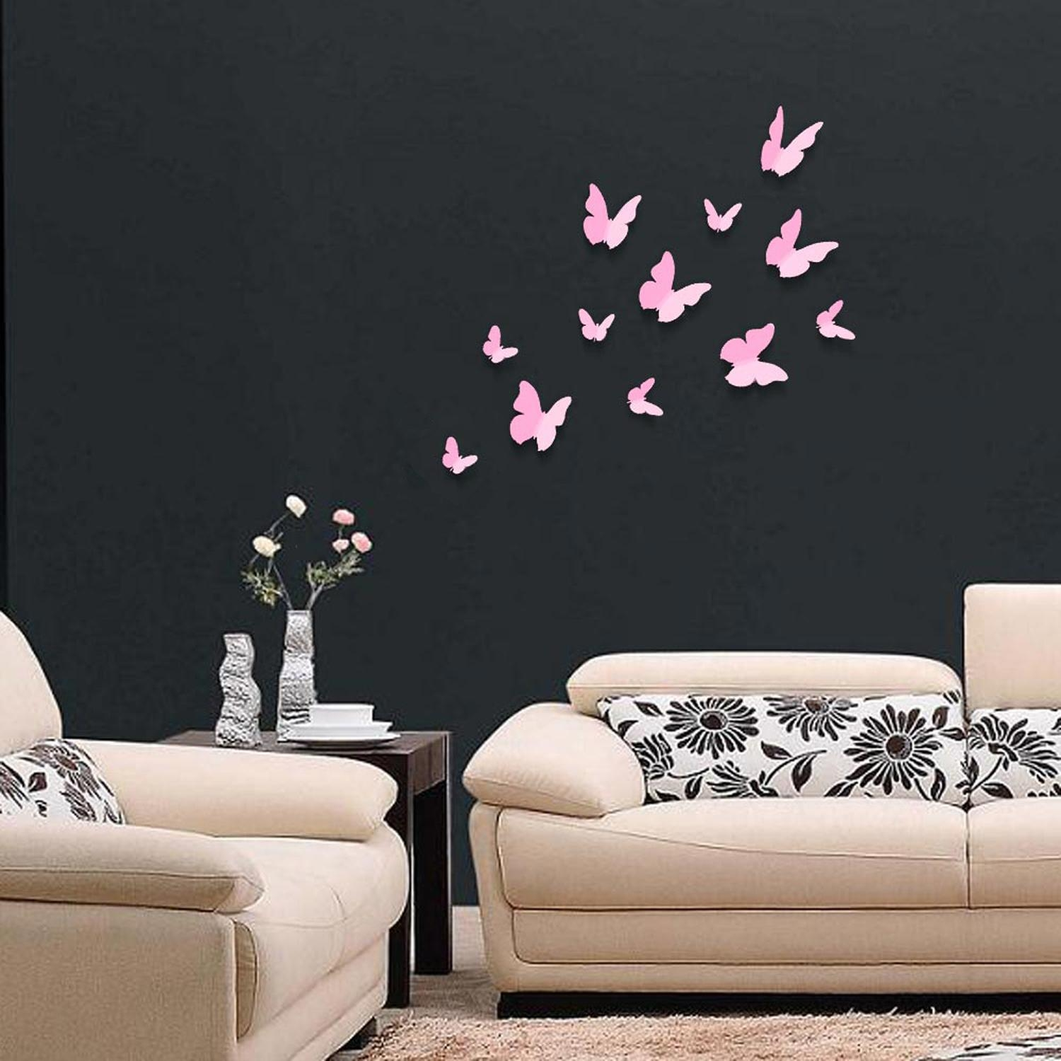 Pink 3D Butterflies Wall Art Stickers In Pink Butterfly Wall Art (Image 18 of 20)