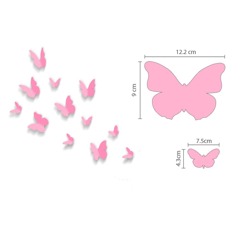 Pink 3D Butterflies Wall Art Stickers Pertaining To Pink Butterfly Wall Art (View 4 of 20)