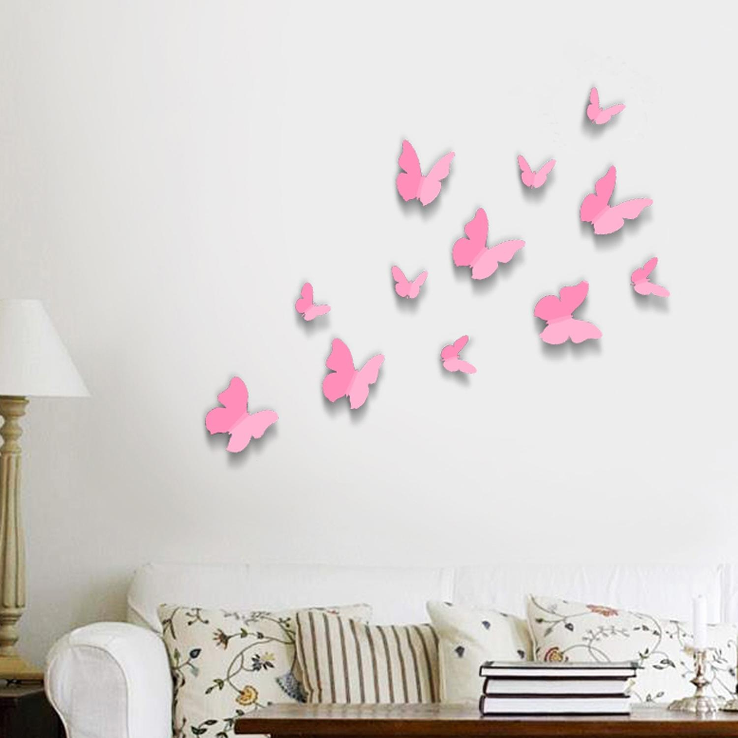 Pink 3D Butterflies Wall Art Stickers With Pink Butterfly Wall Art (View 1 of 20)