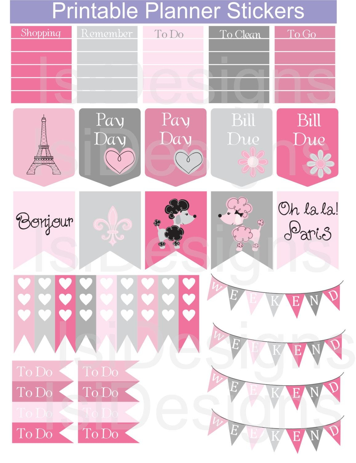 Pink And Grey Printable Planner Stickers / Paris Theme Pertaining To Paris Themed Stickers (View 3 of 20)