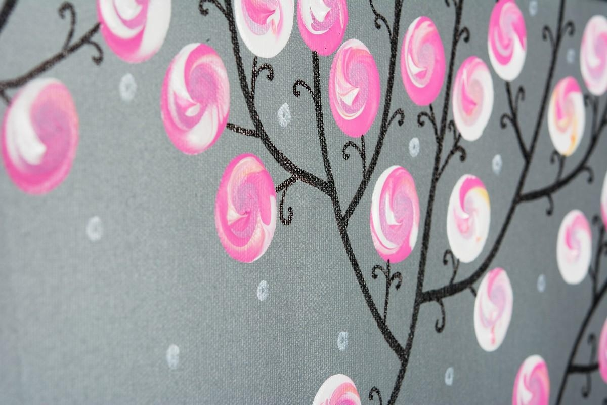 "Pink Blossomsqiqigallery 36"" X 12"" Pink Gray Modern Wall Art In Pink And Grey Wall Art (View 10 of 20)"