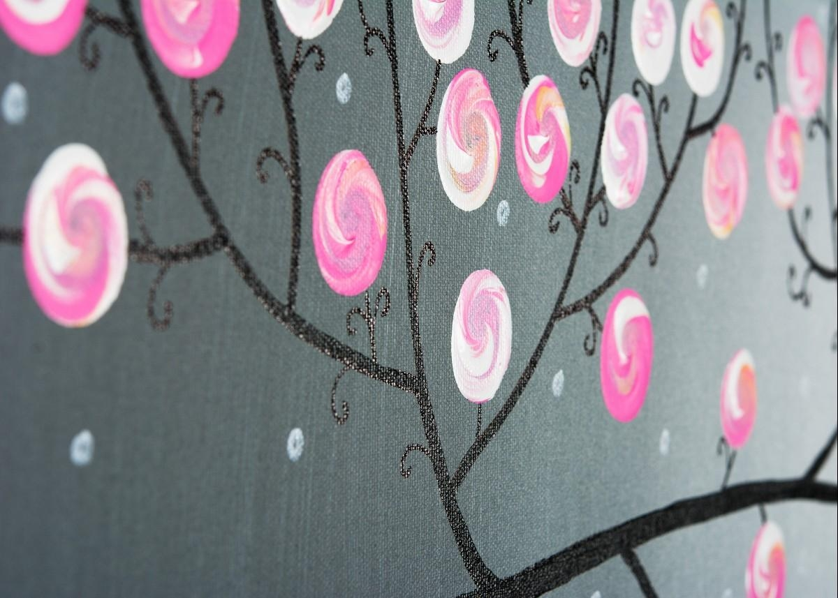 """Pink Blossomsqiqigallery 36"""" X 12"""" Pink Gray Modern Wall Art With Regard To Pink And Grey Wall Art (Image 17 of 20)"""