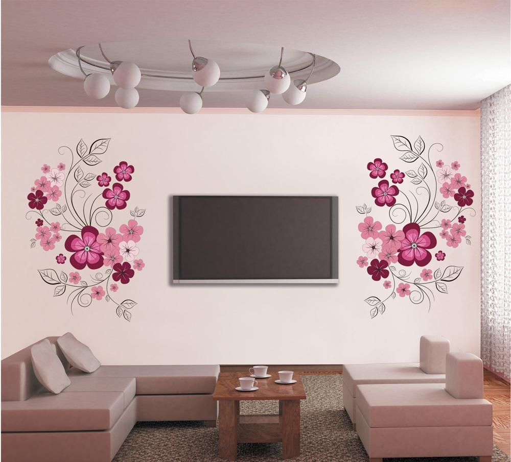 Pink Flower Blossom Wall Decal Sticker Tv Background Flower Tree Within Pink Flower Wall Art (Image 12 of 20)