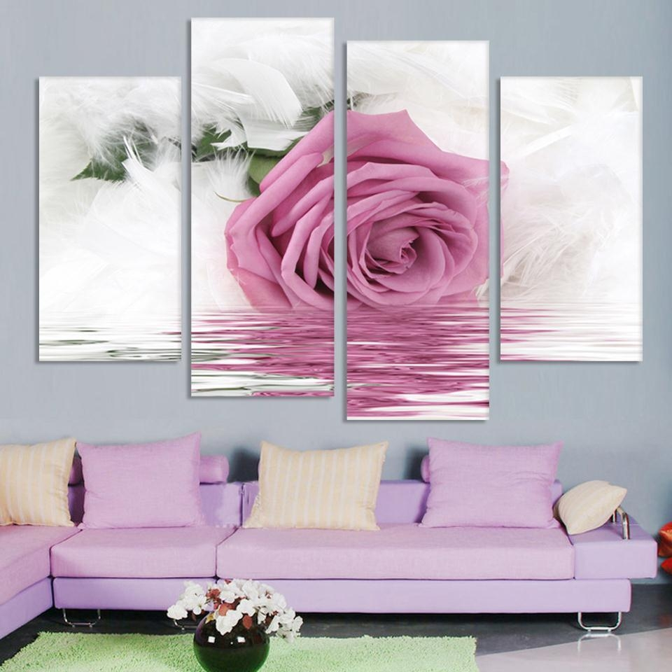 Pink Flower Canvas Wall Art Promotion Shop For Promotional Pink For Pink Flower Wall Art (Image 13 of 20)