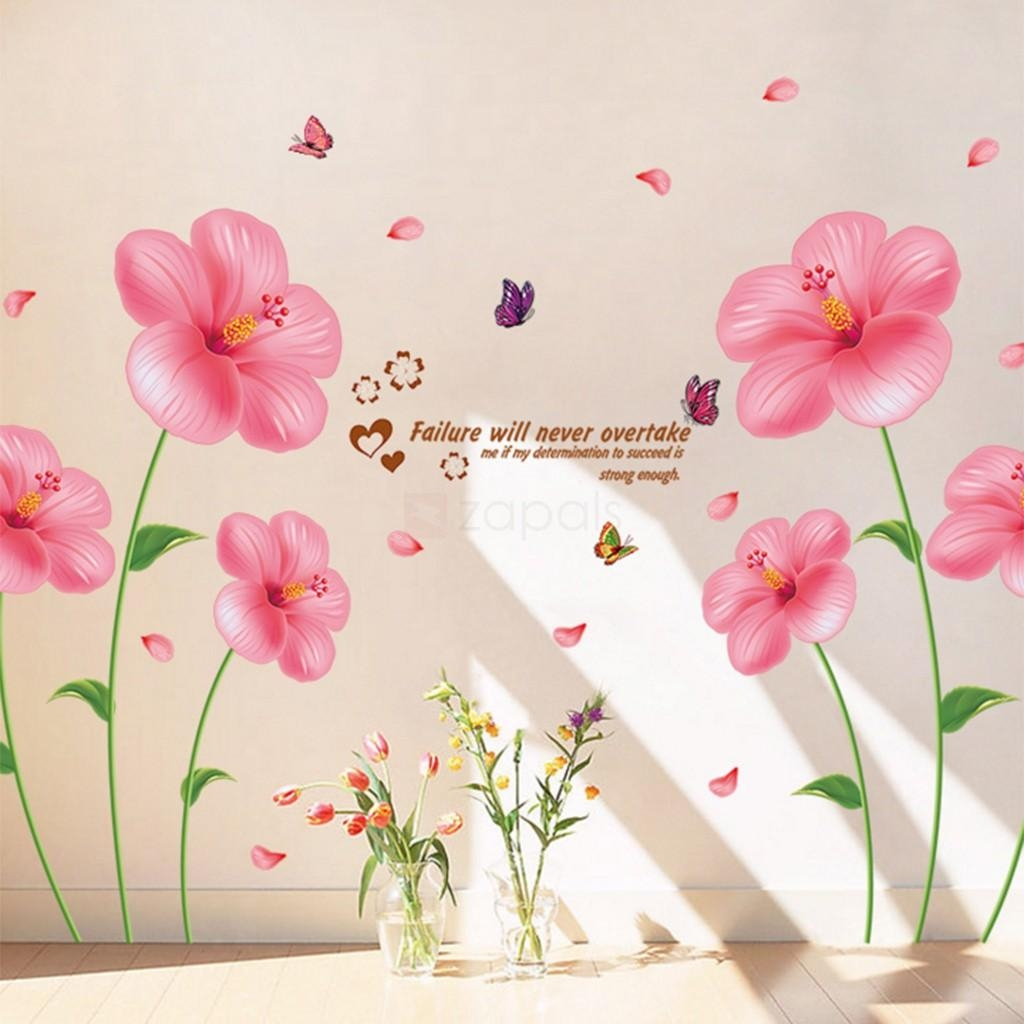 Pink Flower Wall Stickers Living Room Bedroom Wall Art Decals Regarding Pink Flower Wall Art (Image 14 of 20)
