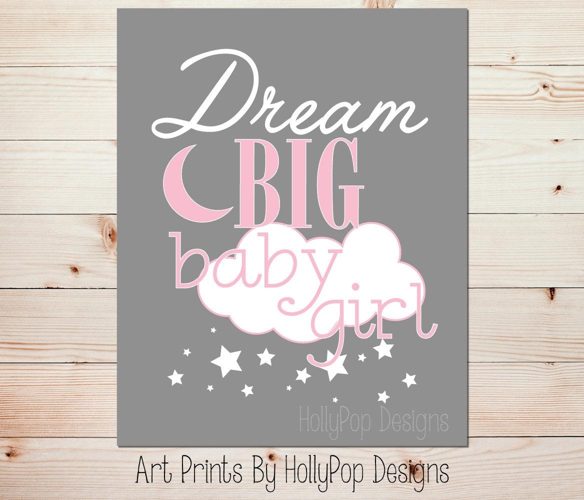 Pink Gray Nursery Art Dream Big Baby Girl Pink Nursery Art For Little Girl Wall Art (Image 14 of 20)