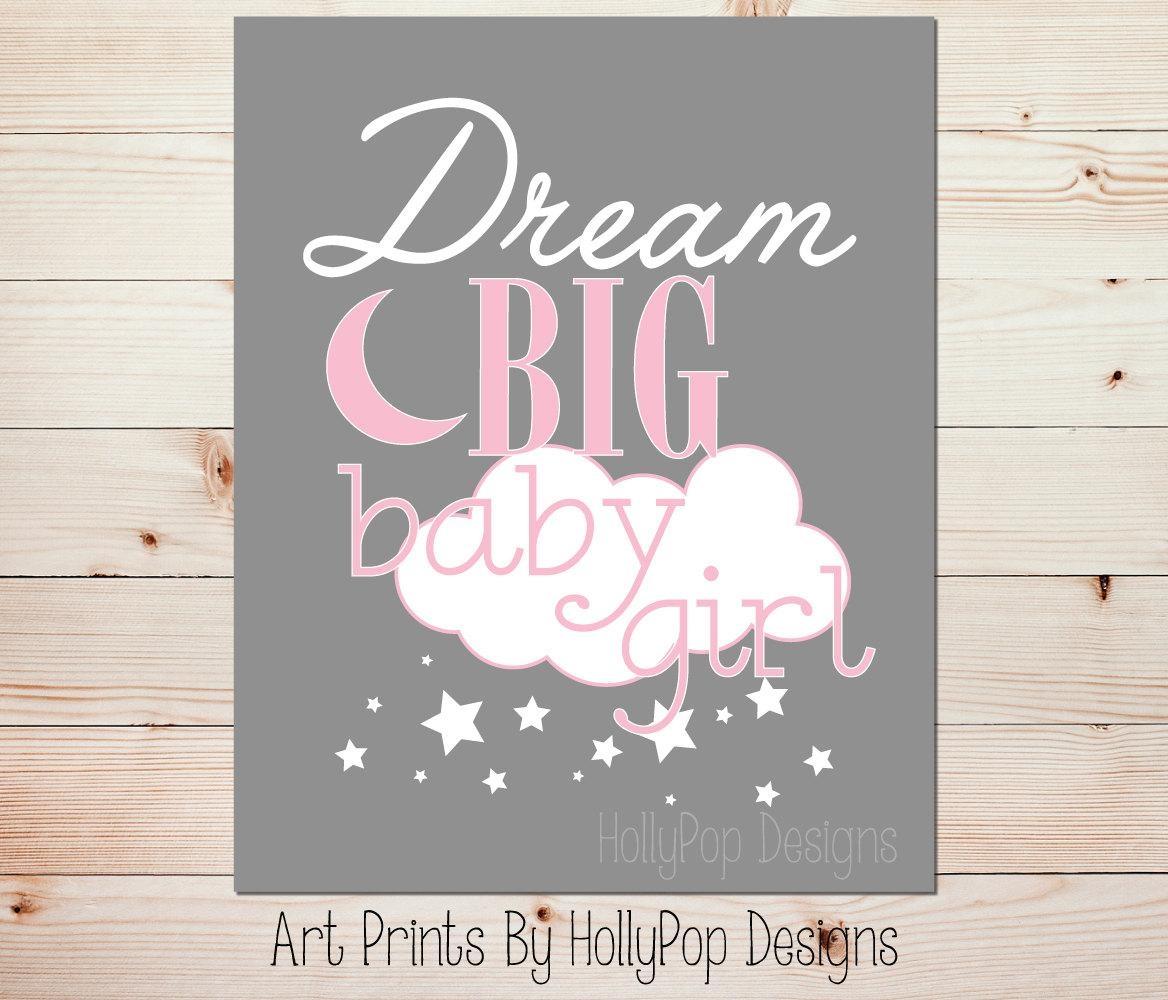 Pink Gray Nursery Art Dream Big Baby Girl Pink Nursery Art For Little Girl Wall Art (View 6 of 20)