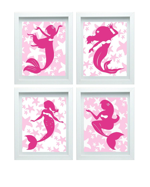 Pink Mermaid Decor Girl Bathroom Art Little Mermaid Print Pertaining To Little Girl Wall Art (View 13 of 20)