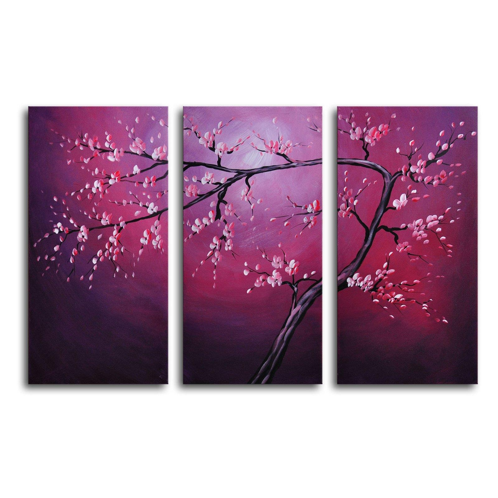 Pink On Crimson 3 Piece Canvas Wall Art – 36W X 24H In (Image 16 of 20)