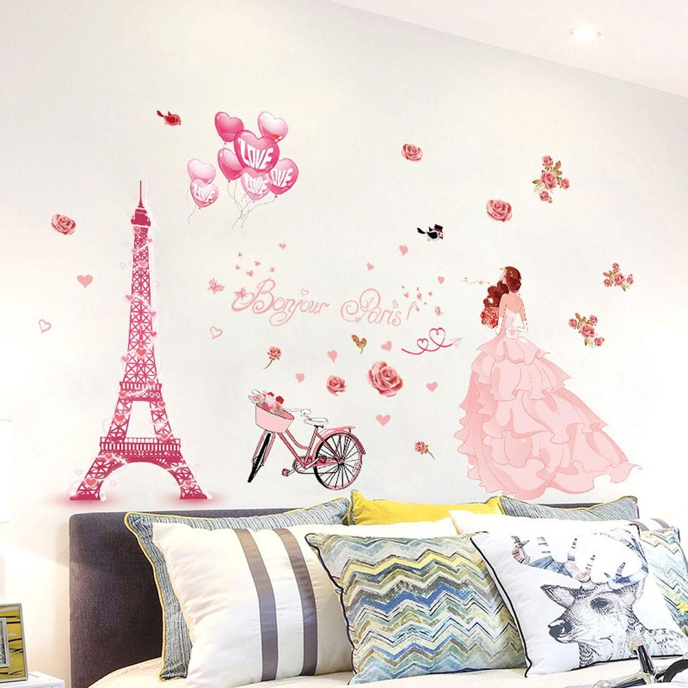 Pink Paris Wall Art Promotion Shop For Promotional Pink Paris Wall With Paris Vinyl Wall Art (View 16 of 20)