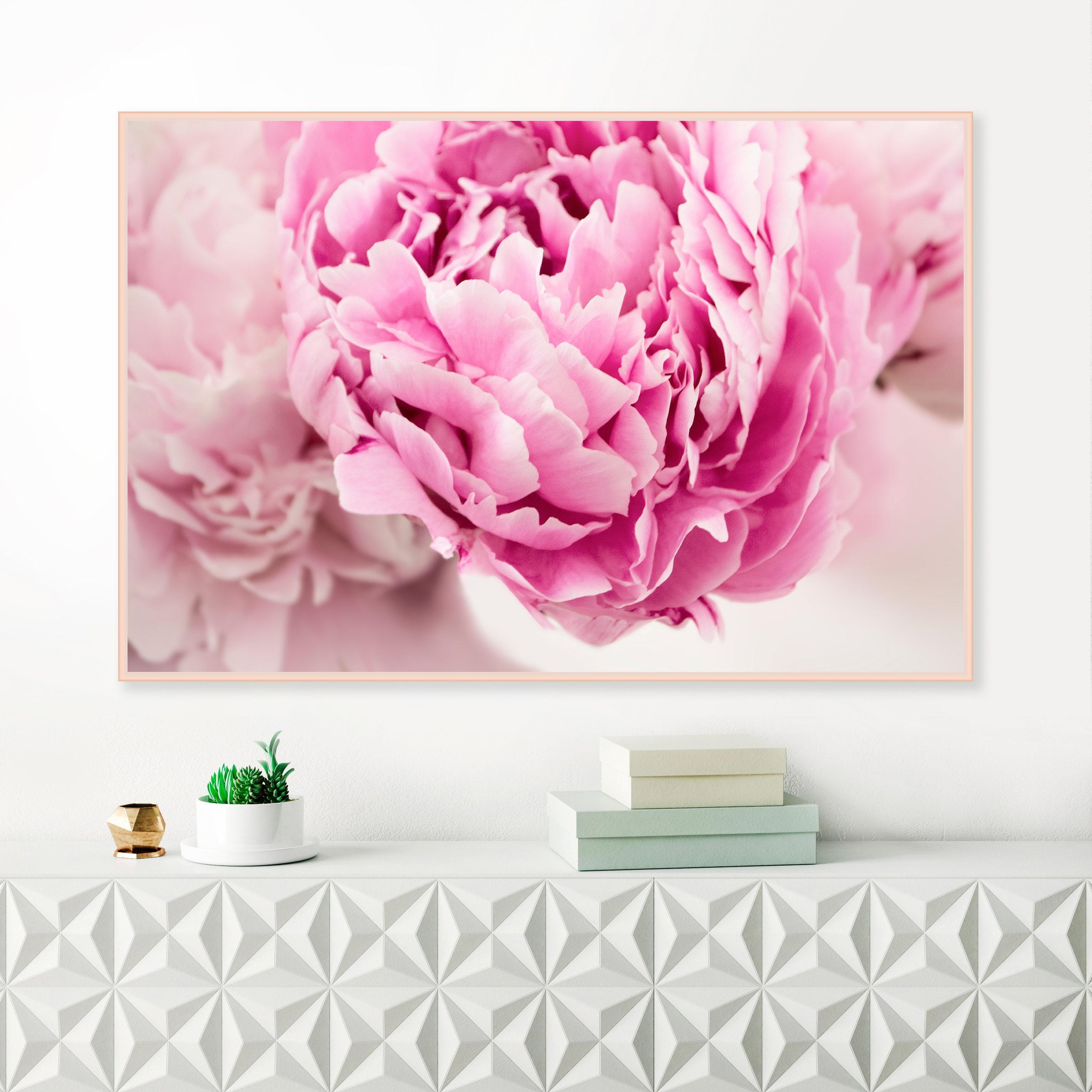 Pink Peonies Print, Pink Flower Prints, Botanical Wall Art In Pink Flower Wall Art (View 17 of 20)