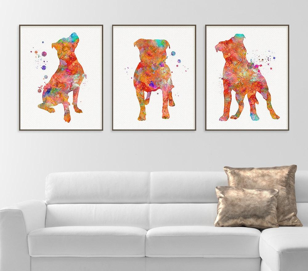 Pitbull Watercolor Art Print Pitbull Painting Set Of 3 Intended For Wall Art Print Sets (View 17 of 20)