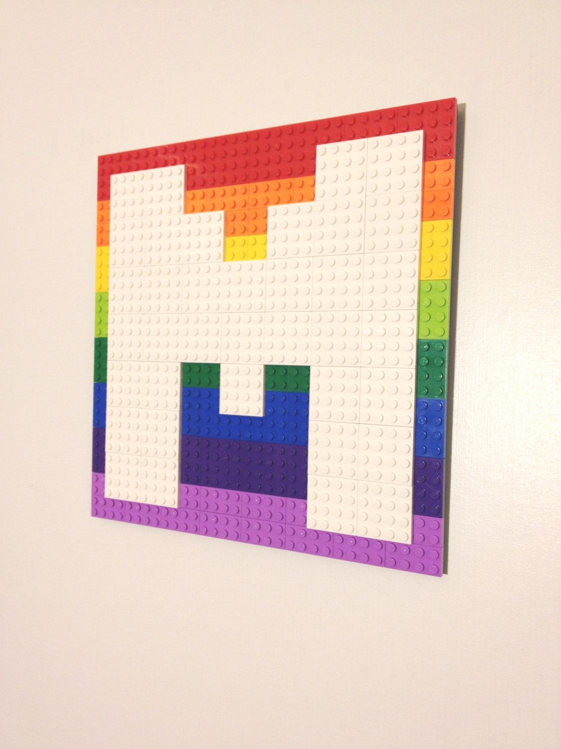 Pixel Letter Lego® Wall Art W/ Background Arcade Font Hanging Within Pixel Mosaic Wall Art (View 8 of 20)