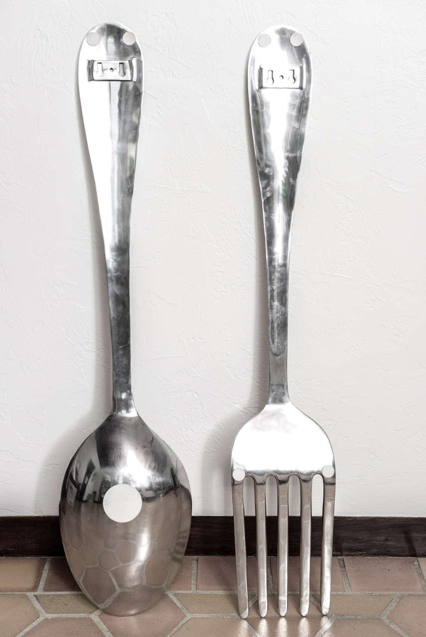 Placed Giant Spoon And Fork Wall Decor — Home Design Stylinghome Regarding Oversized Cutlery Wall Art (View 11 of 20)