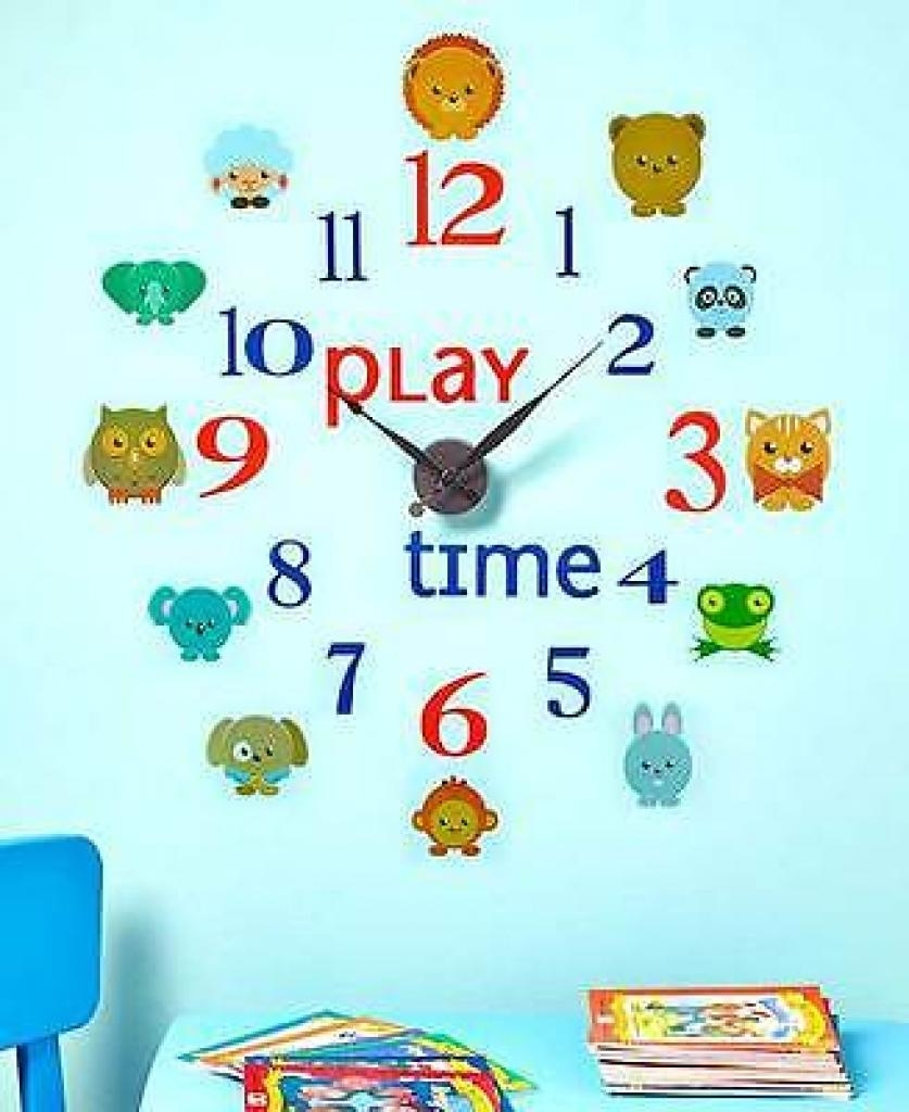 Play Time Novelty Decal Wall Clock Set Kids Bedroom Daycare Wall Throughout Preschool Wall Decoration (Image 14 of 20)