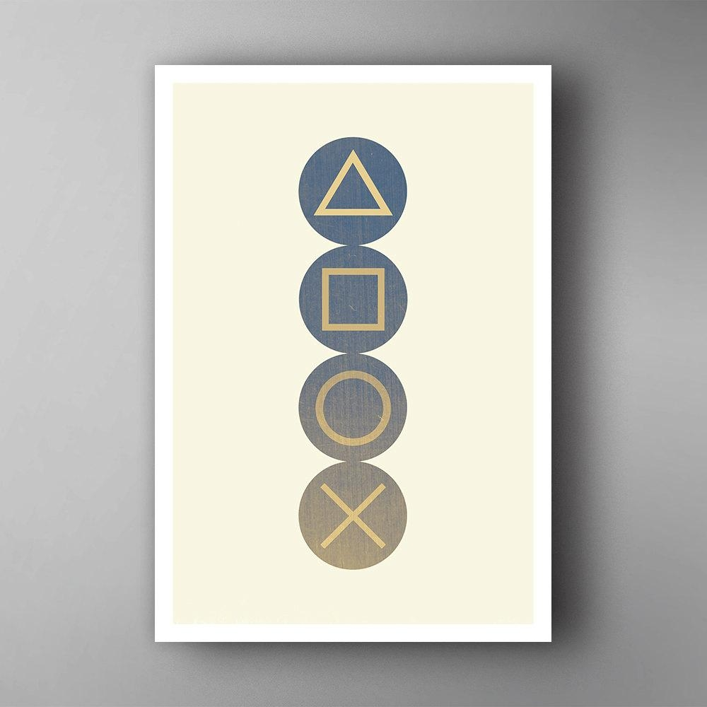 Playstation Inspired. Buttons. Video Game Poster. Wall Art (Image 14 of 20)
