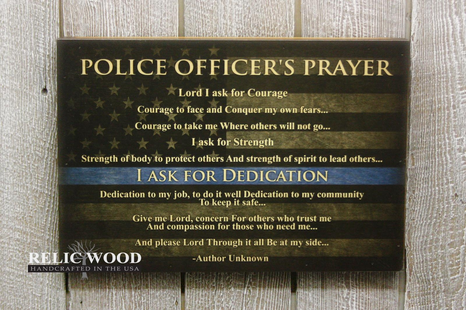 Police Officers Prayer – Wall Art Regarding Hammered Metal Wall Art (View 20 of 20)