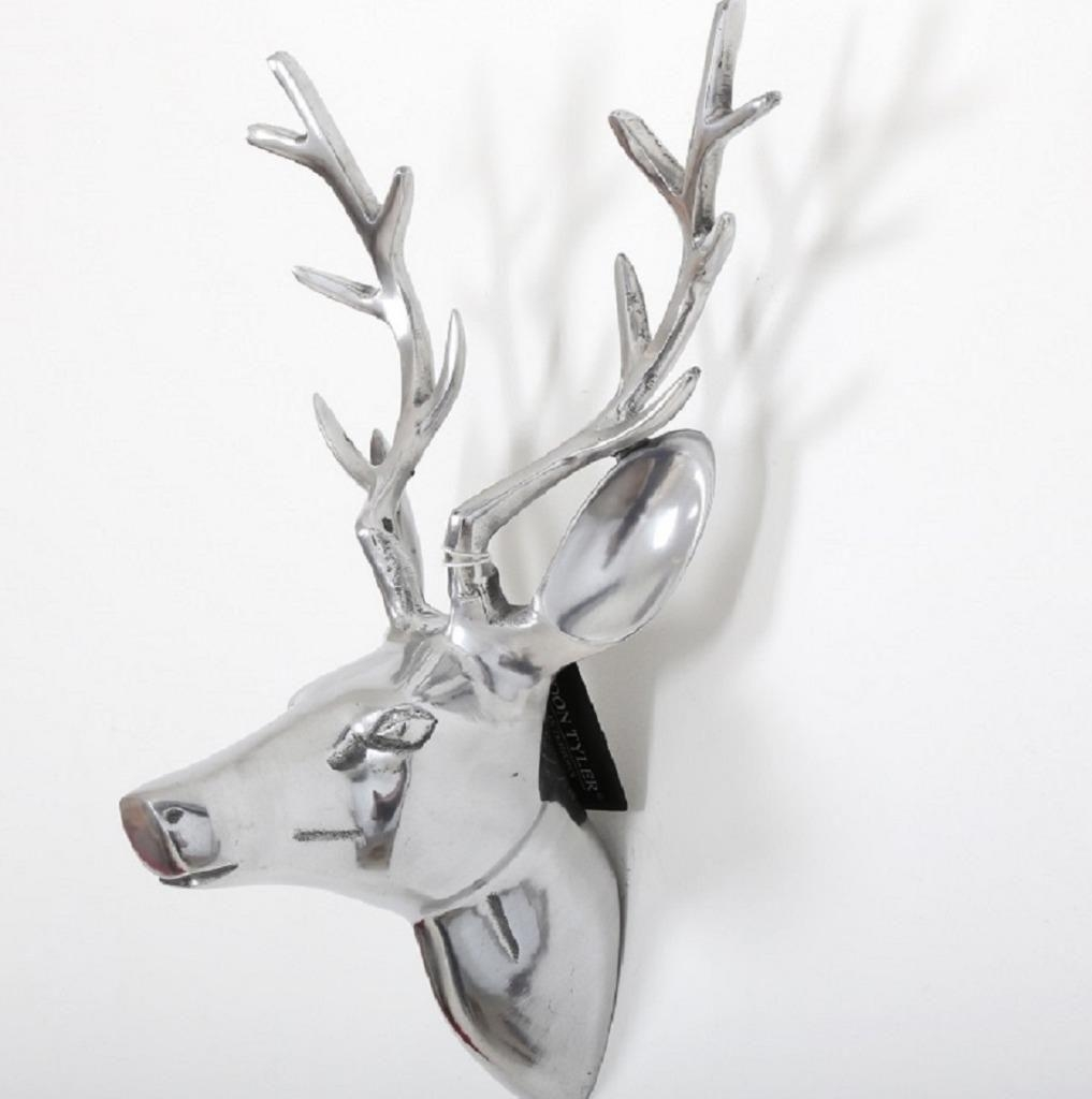 Polished Aluminium Wall Mounted Stags Head Silver Metal Deer Art Inside Stags Head Wall Art (View 8 of 20)