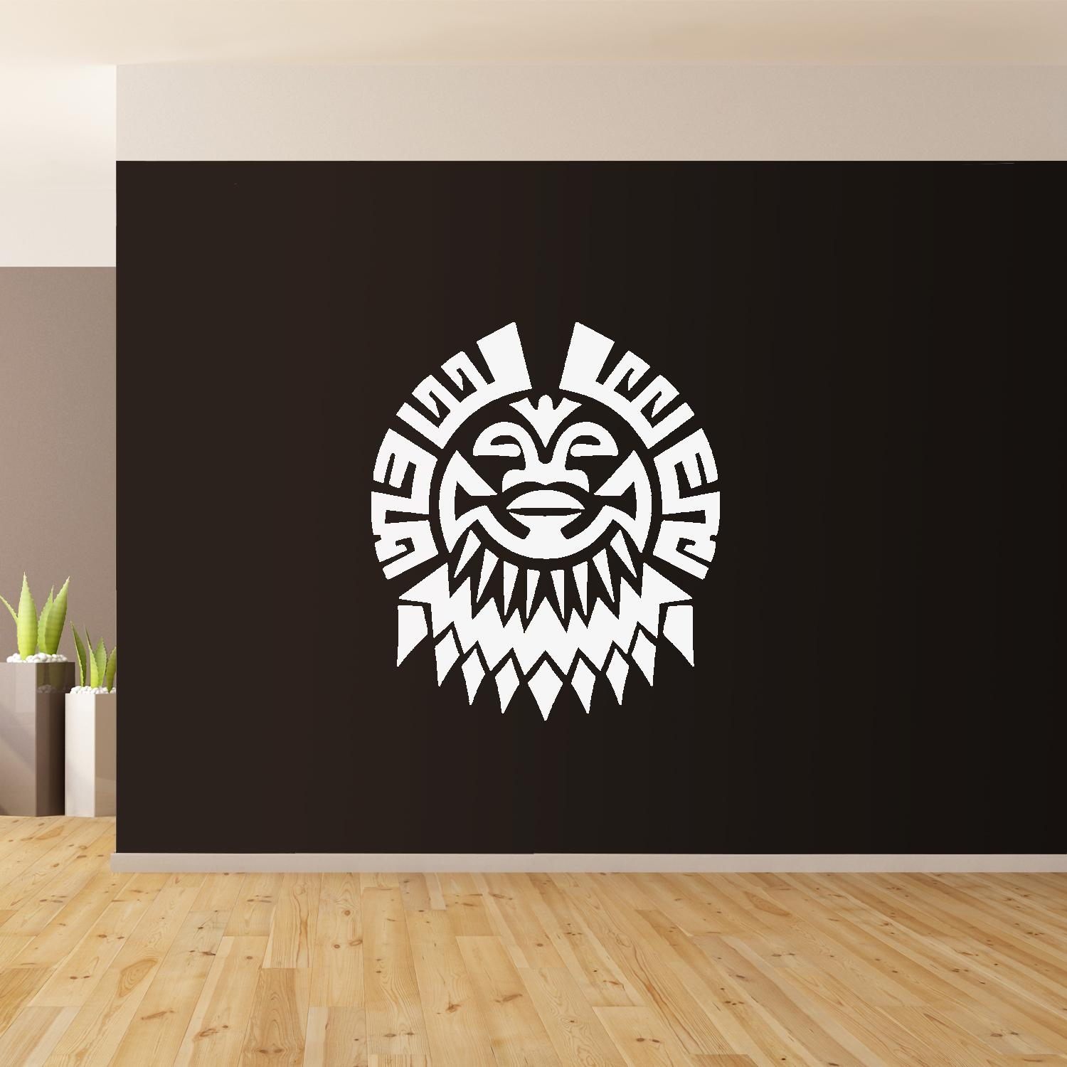 Polynesian Flower Wall Art Giant Sticker Mural Graphic French Regarding Polynesian Wall Art (Image 9 of 20)